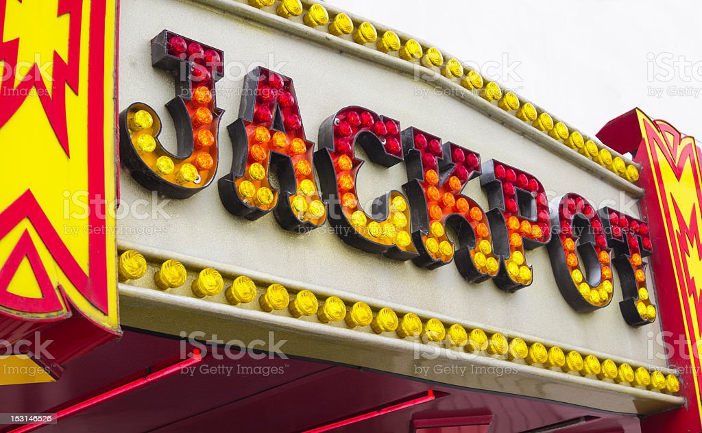 Jackpot sign outside amusment arcade royalty-free stock photo