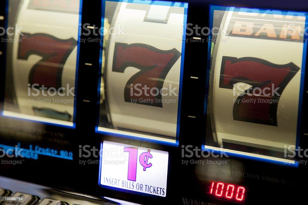 Jackpot!  Winning combination on a slot machine stock photo