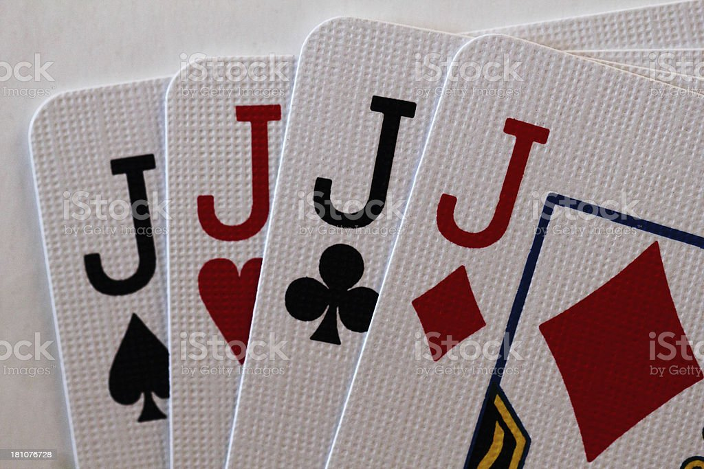 Jacks Playing Card Close Up Four royalty-free stock photo