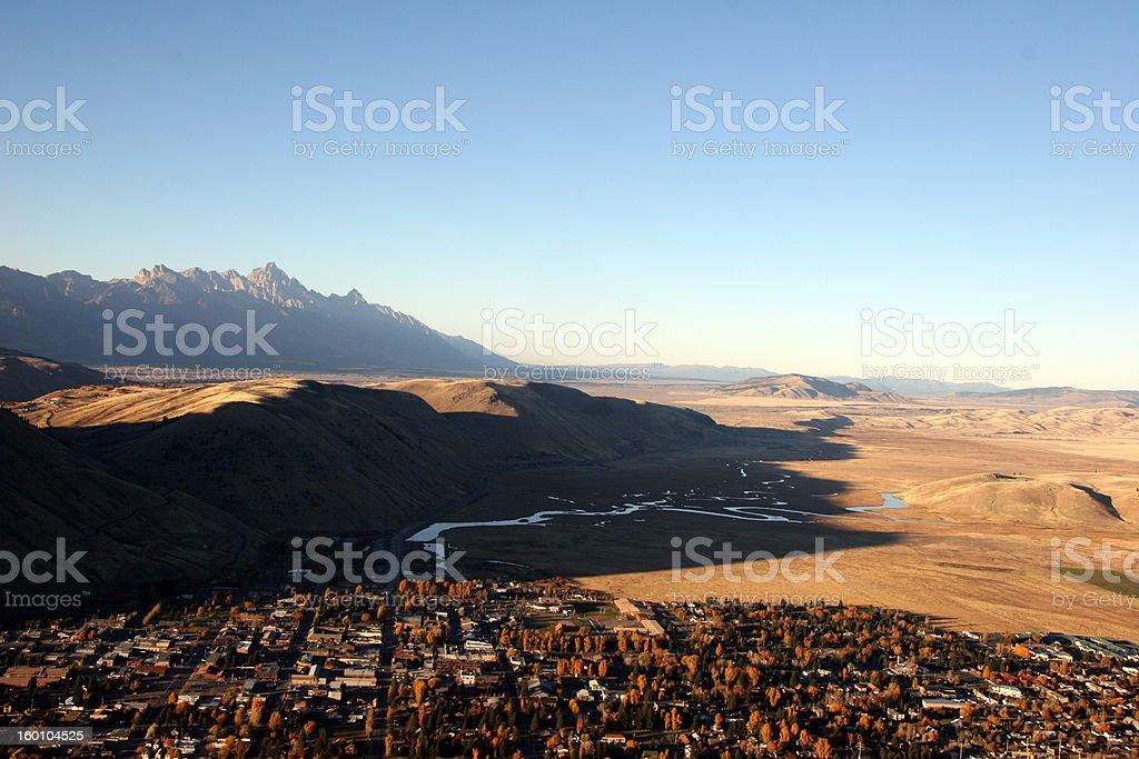 Jackson Hole and the Teton mountain range stock photo