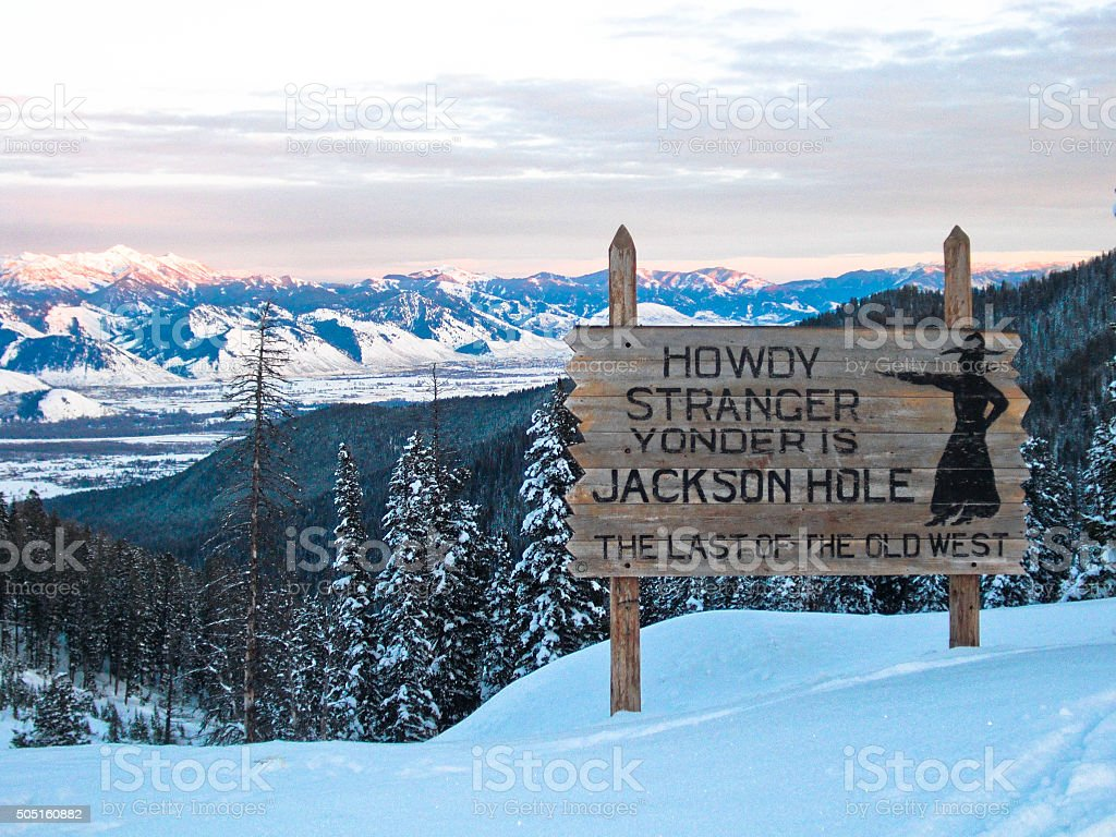 Jackson Hole Sign- Winter stock photo