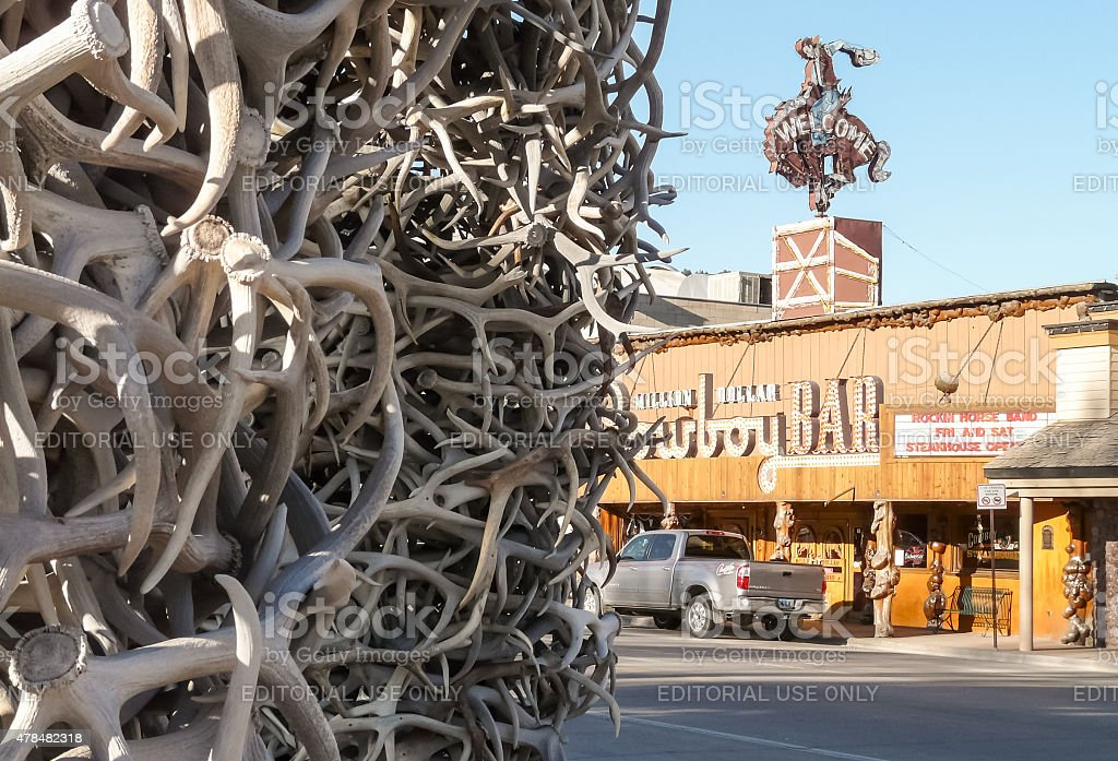 Jackson Hole - town center with Cowboy Bar stock photo