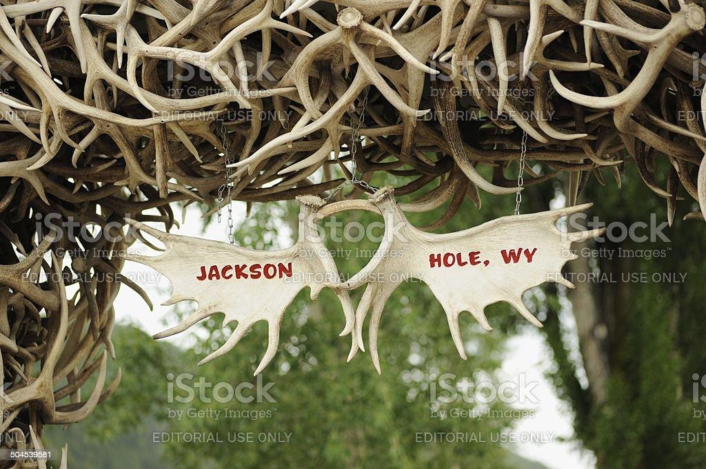 Jackson Hole Wyoming antler sign stock photo