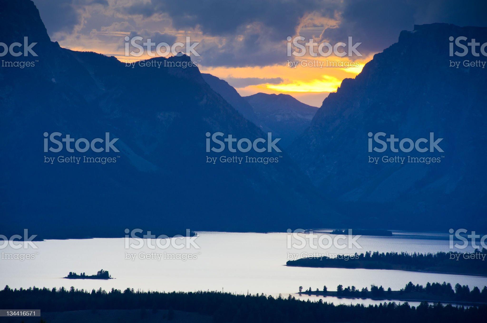 Jackson Lake at Sunset Tetons royalty-free stock photo