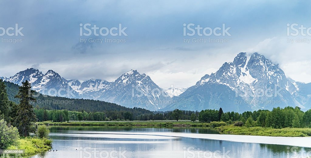 Jackson Lake Grand Teton National Park Panorama Wyoming USA stock photo