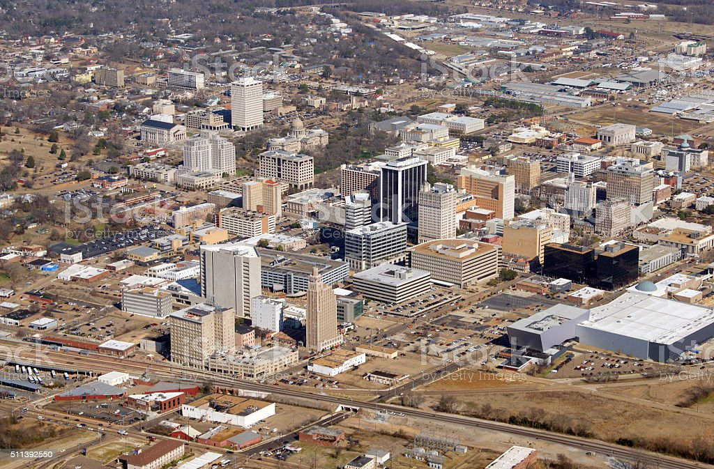 Jackson, Mississippi Aerial Photo stock photo