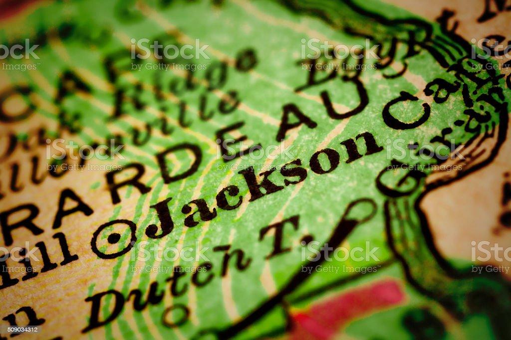 Jackson, Missouri on an Antique map stock photo