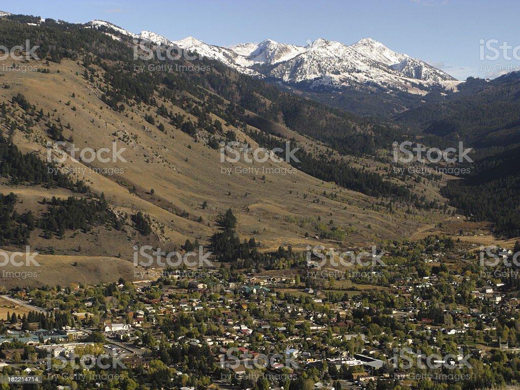 Jackson Wyoming Town Teton Mountains stock photo