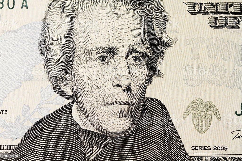 Jackson's portrait on dollar stock photo