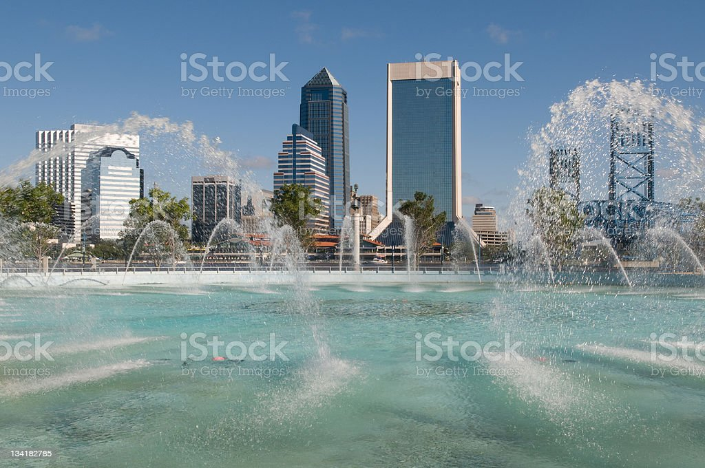 Jacksonville Cityscape Across Friendship Fountain royalty-free stock photo