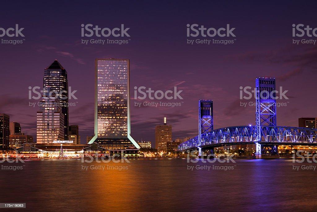 Jacksonville Florida skyline at night royalty-free stock photo