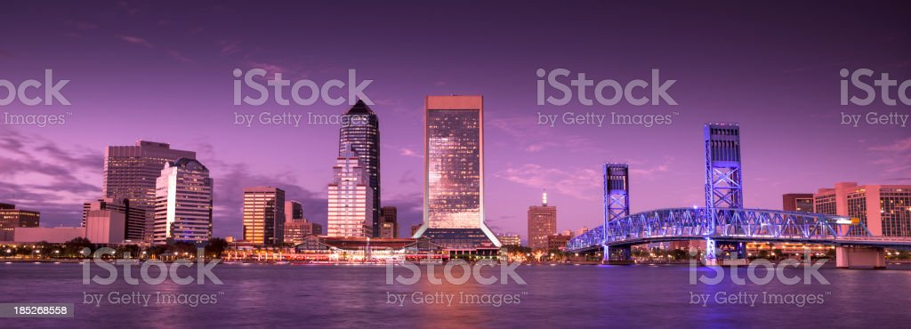 Jacksonville Florida skyline panoramic at night royalty-free stock photo
