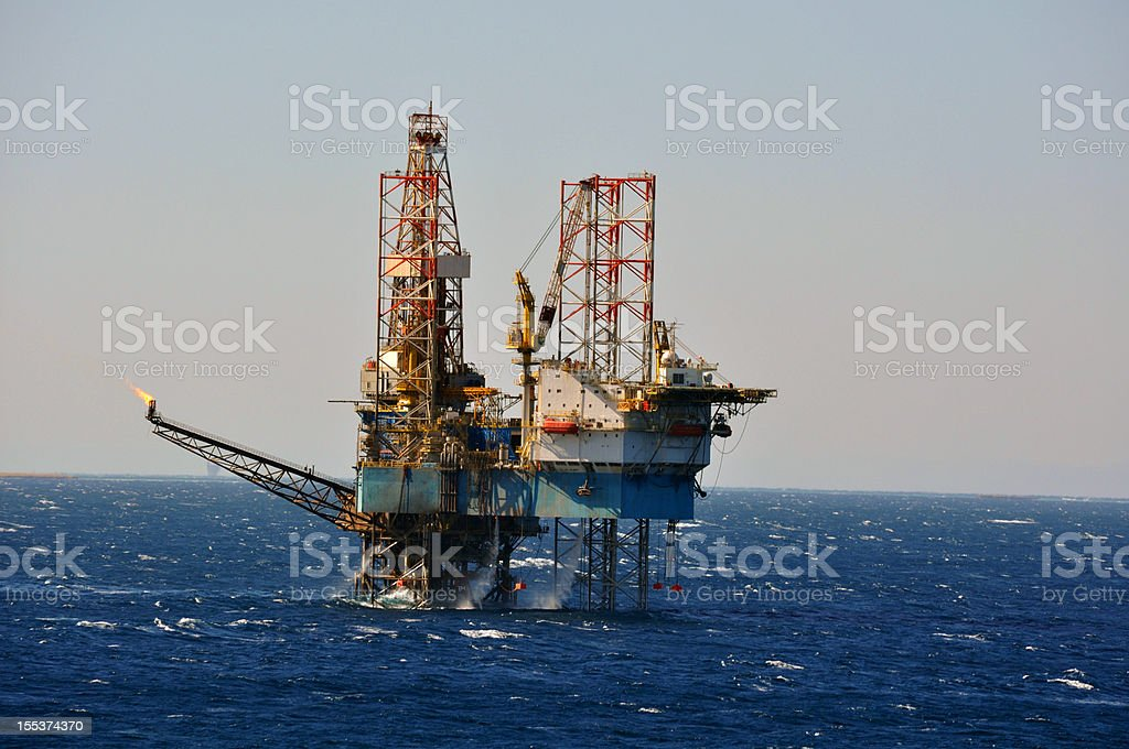 Jack-up offshore drilling rig stock photo