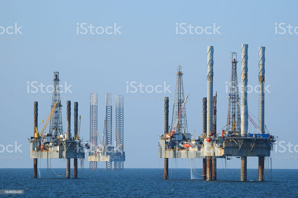Jack-up oil rigs. (well platforms) royalty-free stock photo