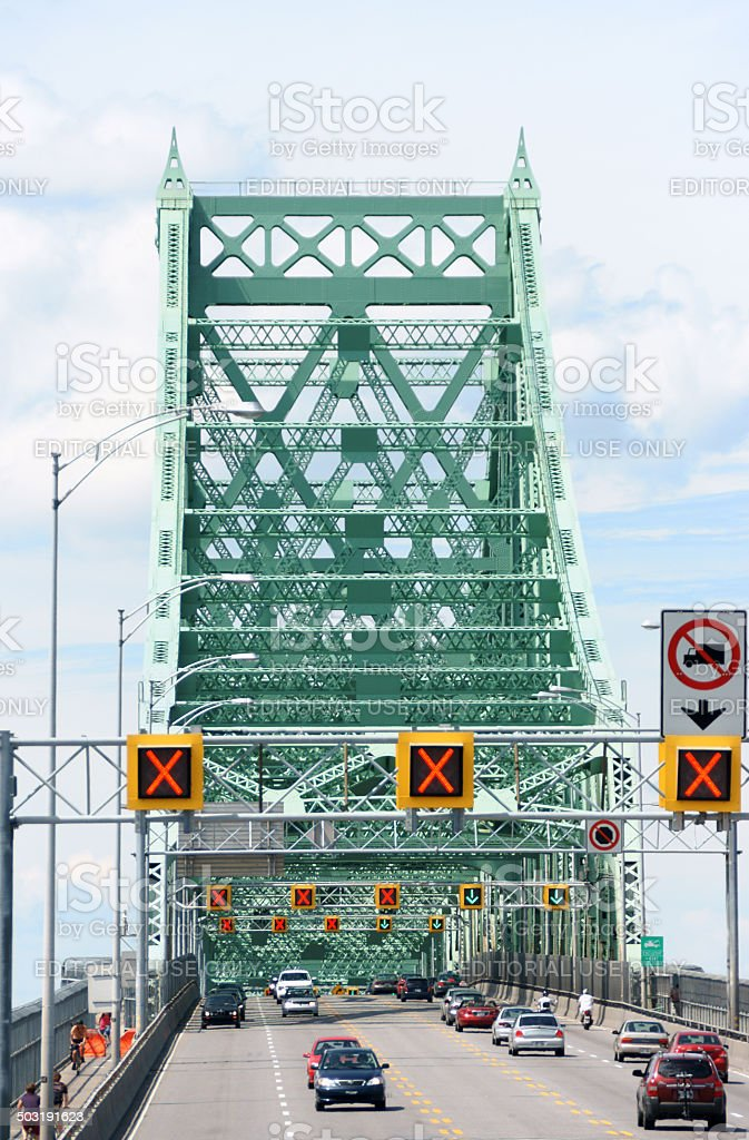 Jacques Cartier bridge in Montreal, Canada stock photo
