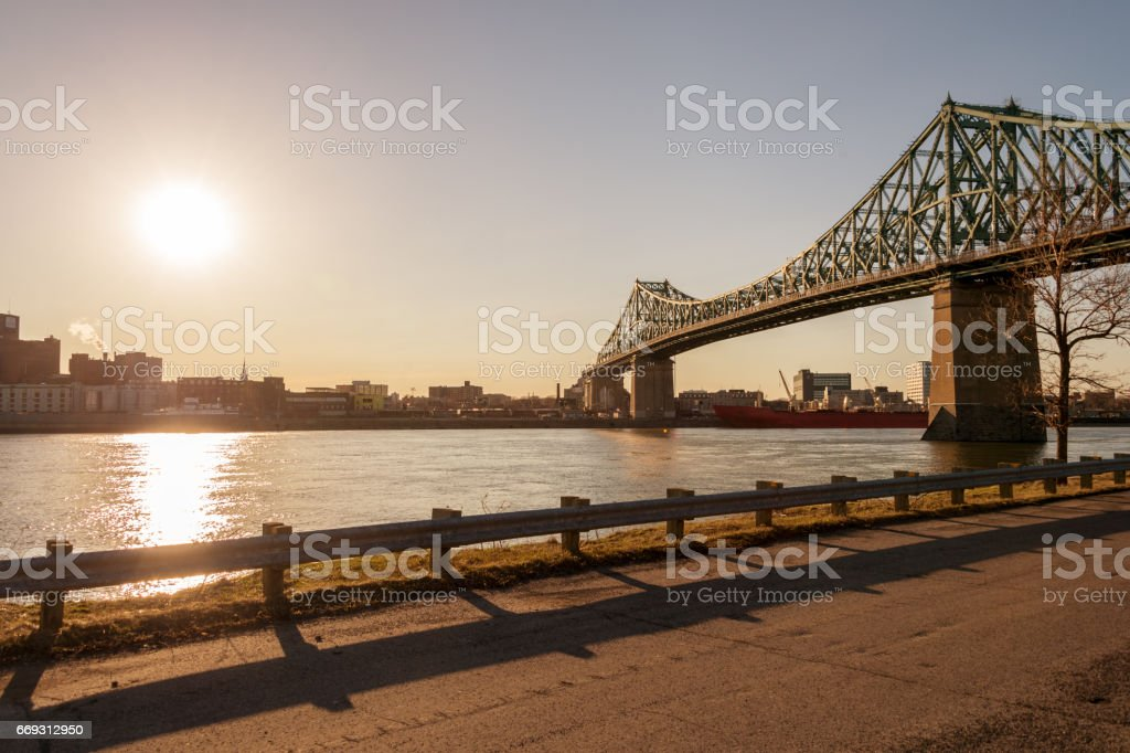Jacques-Cartier Bridge and Saint-Lawrence River in Montreal stock photo