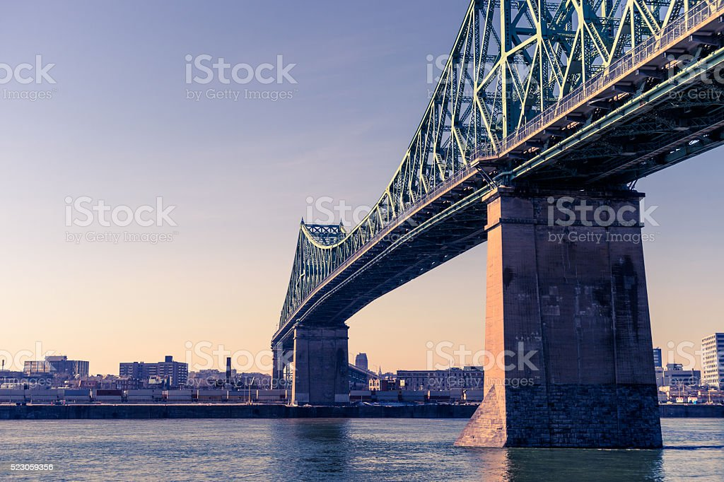 Jacques-Cartier Bridge in Montreal, at sunset stock photo
