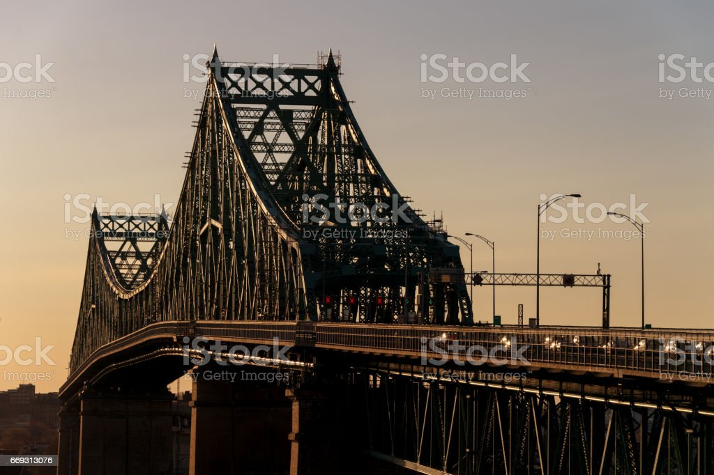 Jacques-Cartier Bridge in Montreal stock photo