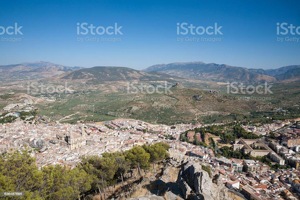 Jaen city from Santa Catalina mountain stock photo