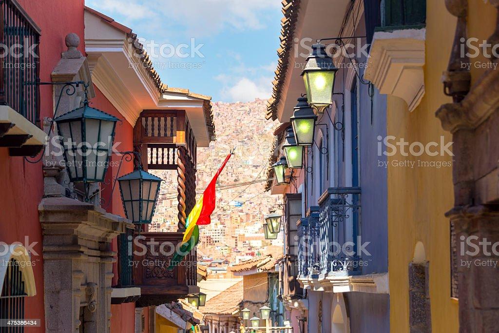 Jaen Street in La Paz, Bolivia stock photo