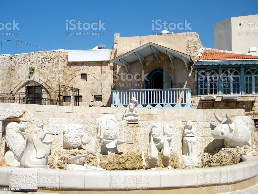 Jaffa Fountain with sculptures of zodiac signs 2011 stock photo