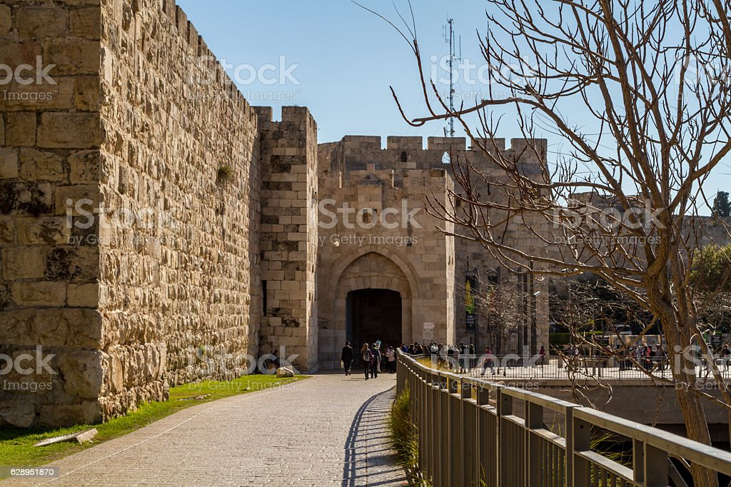 Jaffa Gate in Old City of Jerusalem, Israel stock photo