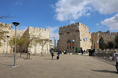 Jaffa Gate outside the old city Wall of Jerusalem. Israel