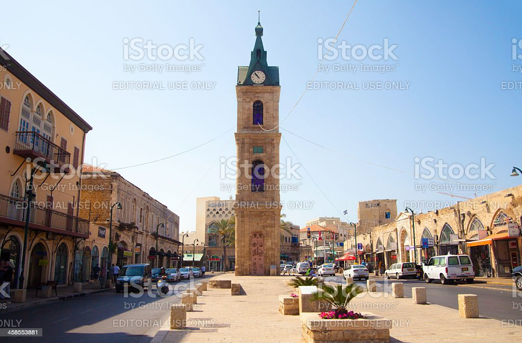 Jaffa street and clock Tower, Israel royalty-free stock photo