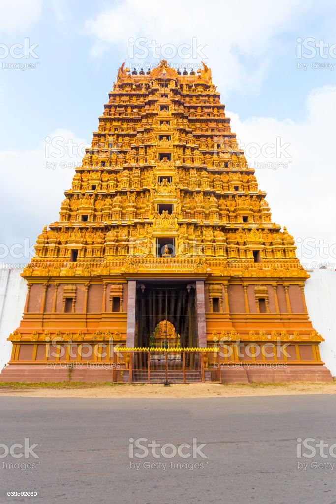 Jaffna Nallur Kandaswamy Temple Gopuram Front stock photo
