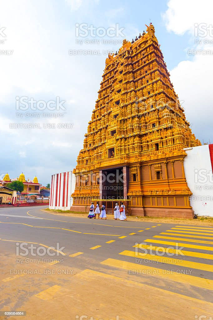 Jaffna Nallur Kandaswamy Temple Gopuram People V stock photo