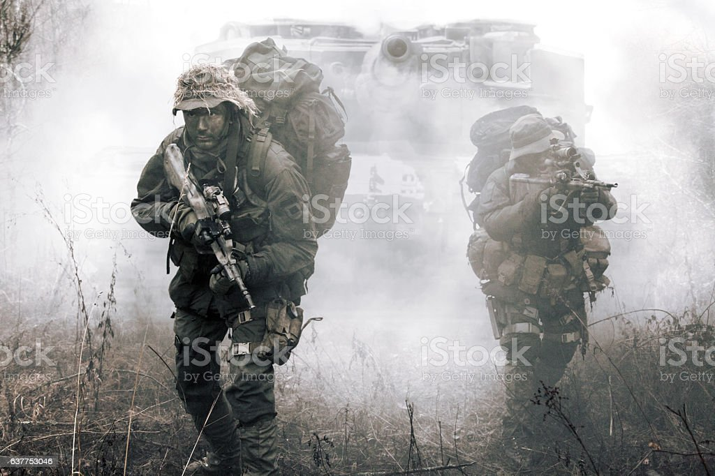 Jagdkommando soldiers Austrian special forces stock photo