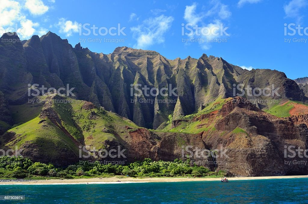 Jagged hills from catamaran at the Napali coast, Kauai, Hawaii stock photo