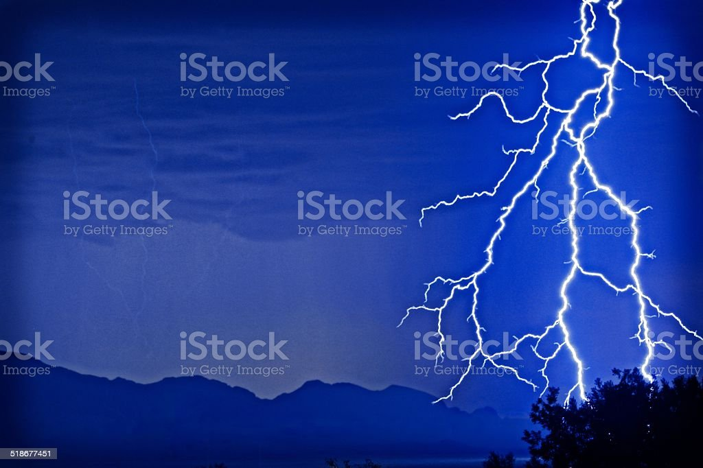 Jagged Lightning in Night Sky stock photo