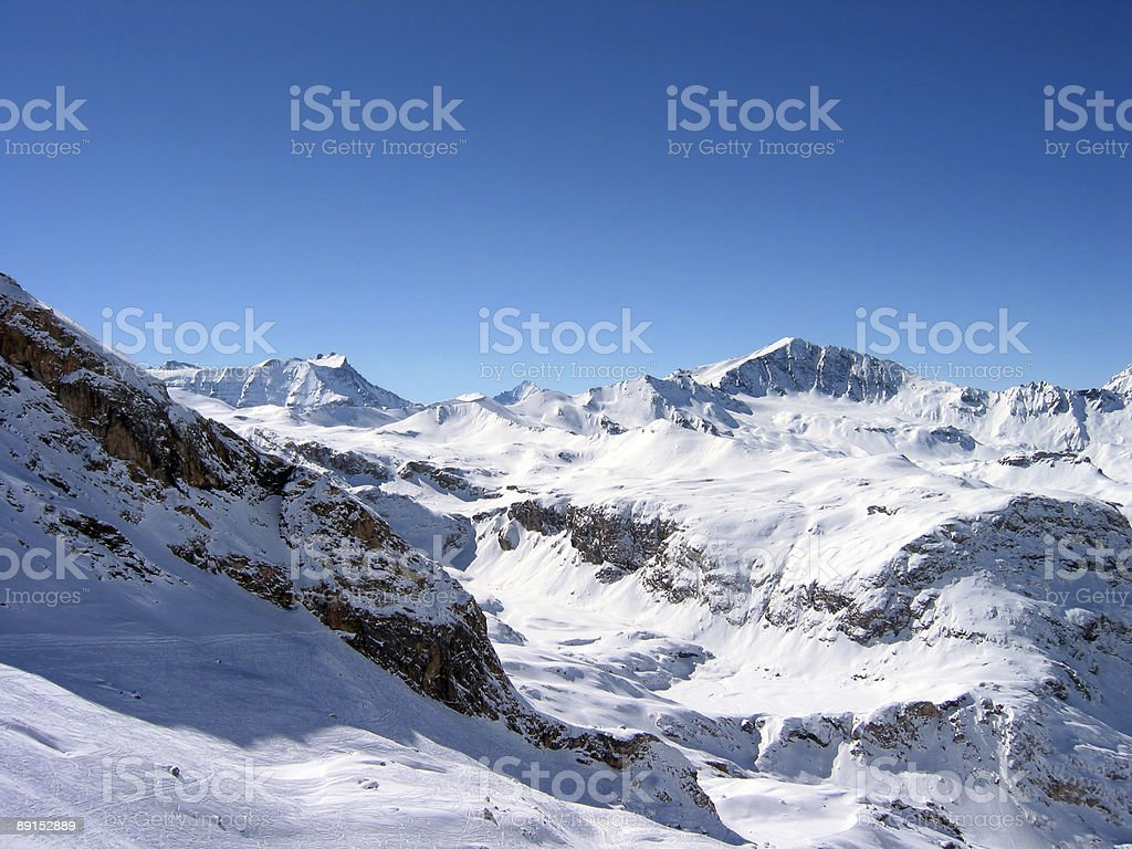 Jagged mountain peaks in the Alps stock photo