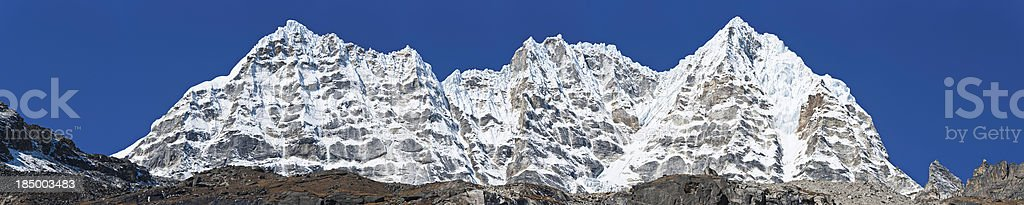 Jagged mountain peaks panorama Himalayas Nepal stock photo