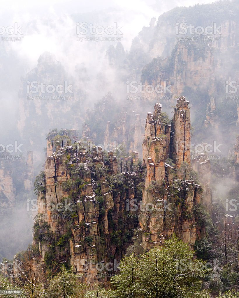 Jagged rocks in the Sea of Clouds royalty-free stock photo
