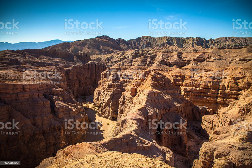 Jagged San Andreas Formed Canyon Landscape Of Mecca Hills, California royalty-free stock photo
