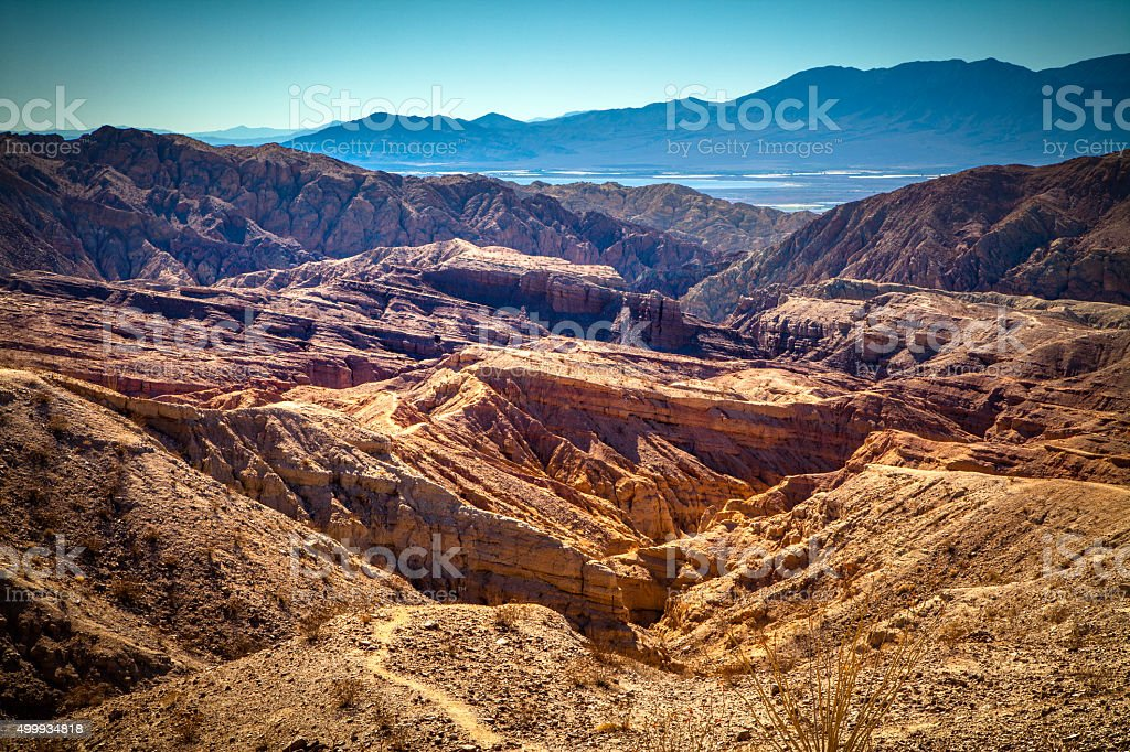 Jagged San Andreas Formed Landscape Of Mecca Hills, California royalty-free stock photo