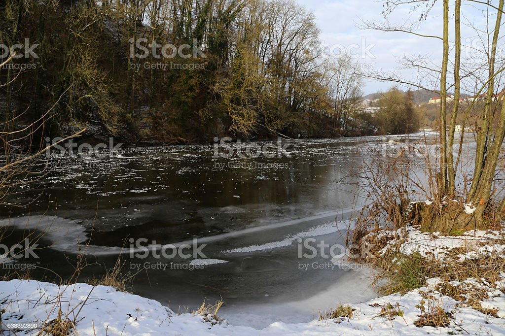 Jagst (Germany) in the winter stock photo