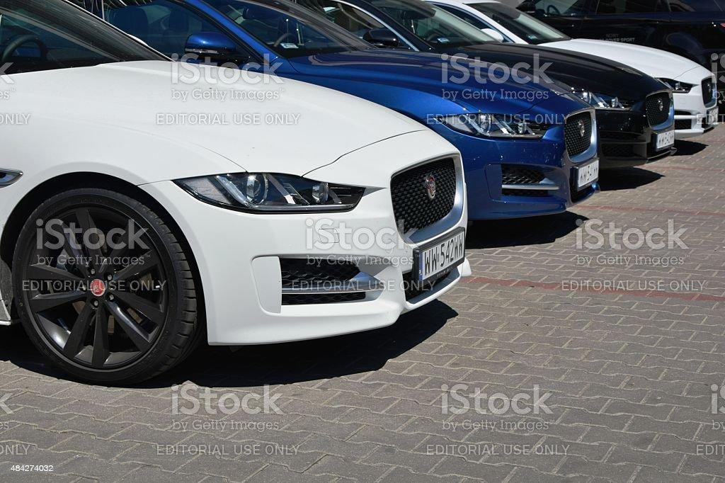 Jaguar cars in a row stock photo
