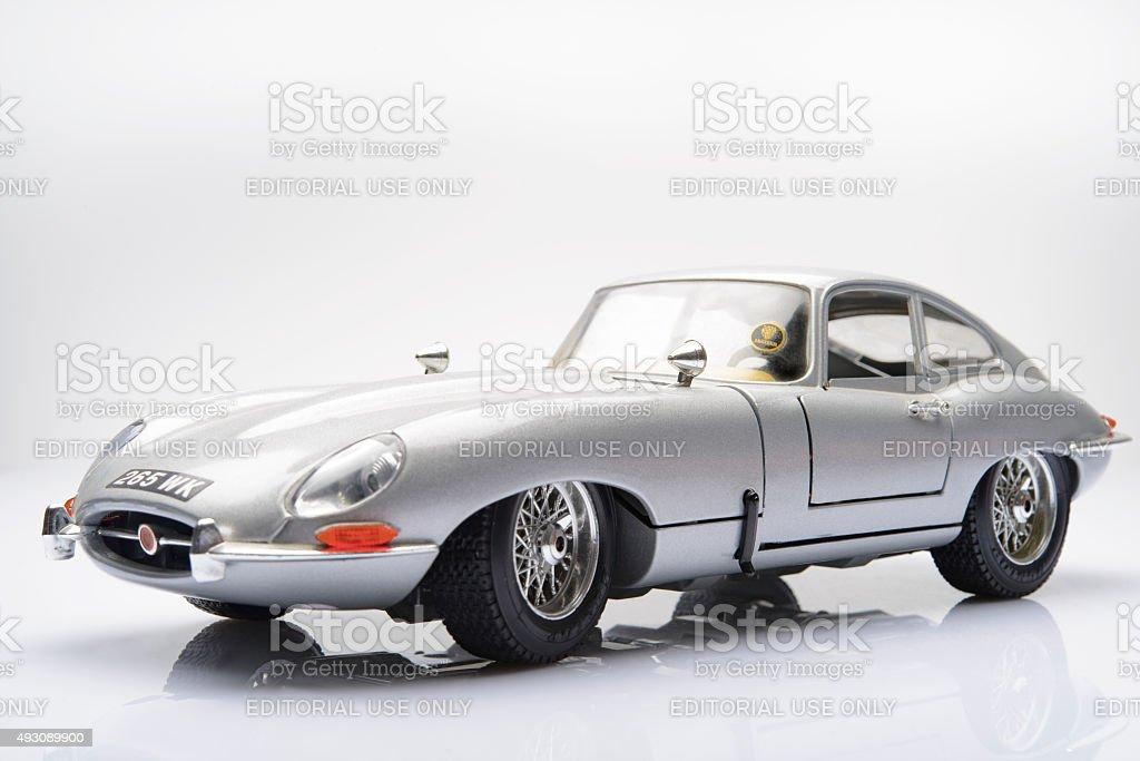 Jaguar E-Type classic sports car model stock photo