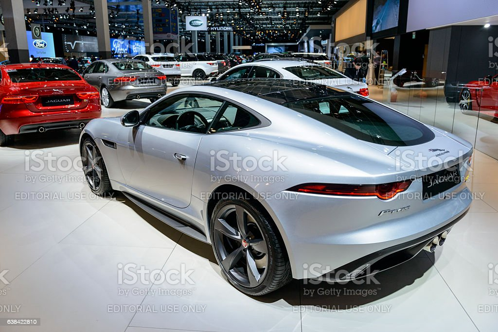 Jaguar F-Type 400 Sport coupe sports car rear view stock photo