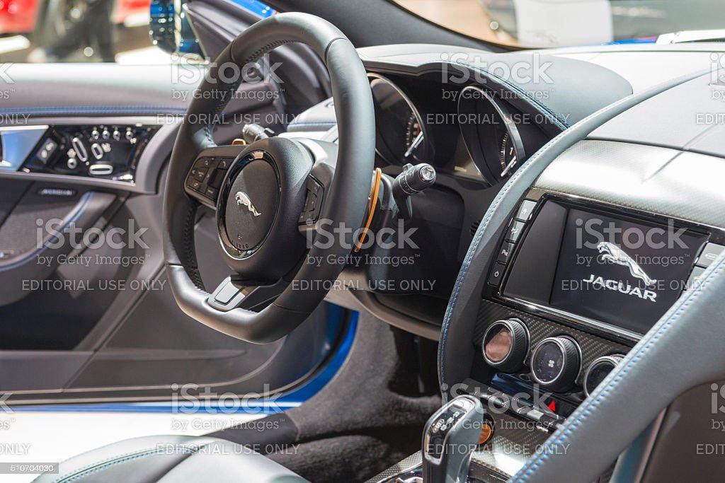Jaguar F-Type S coupe sports car interior stock photo
