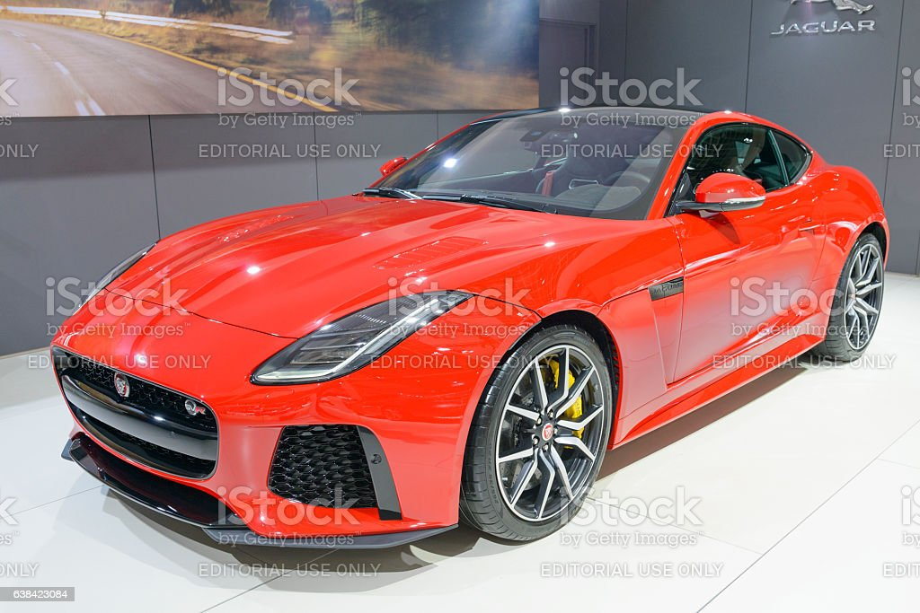 Jaguar F-Type SVR two-seat sports car front view stock photo