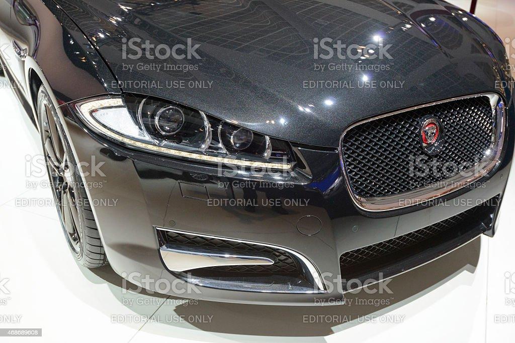 Jaguar XF Estate car front end detail stock photo