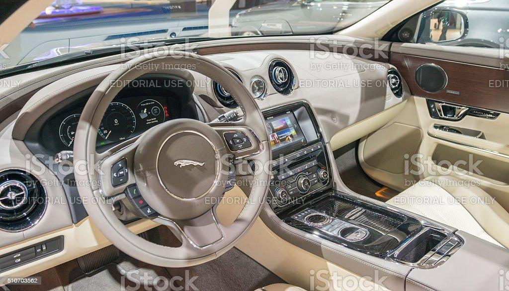 Jaguar XJ luxury saloon car interior stock photo