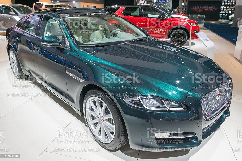 Jaguar XJ luxury saloon car stock photo