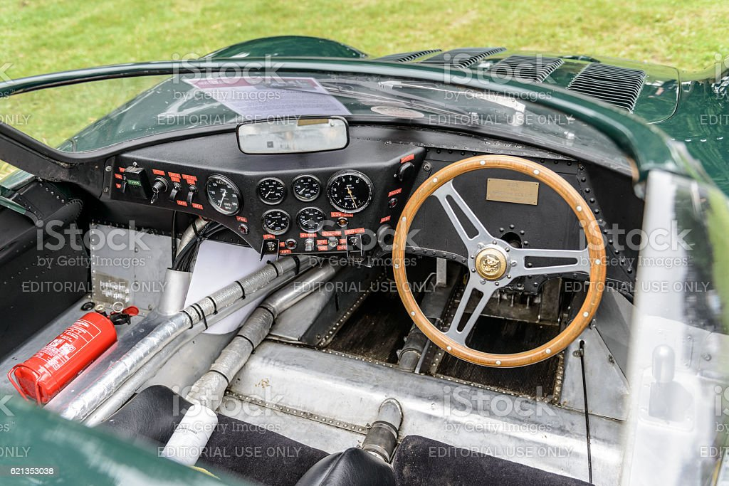 Jaguar XJ13 1960s Le Mans race car prototype interior stock photo
