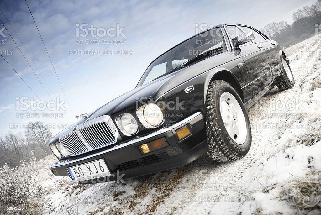 Jaguar XJ6 on the outskirts stock photo
