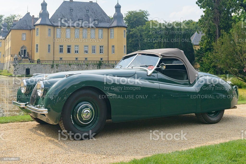 Jaguar XK 120 classic sports car stock photo